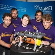 DKANE 19072016 REPRO FREE 2)       I WISH IMAGINES UNDERWATER ROBOT WARS: As part of the I WISH Imagines Programme, an initiative that aims to inspire, encourage and motivate young female students to pursue careers in STEM, each team participating in the IMERC Mecathon mentored a female transition year student for the duration of the competition. Each student worked with their team and over the course of the competition, and helped to brainstorm, prototype and build an underwater robot experiencing first-hand what it is like to work on an exciting and innovative STEM project in world-class facilities. The Irish Naval Service were announced as the winning team of the IMERC Mecathon which took place in the Lir National Ocean Test Facility in the MaREI Centre for Marine and Renewable Energy at the UCC Beaufort Building in Ringaskiddy, Co. Cork. Pictured are the MaREI team mates Garon Barker, Chris Wright, Aneka O'Donoghue, Pierre Benreguig and Damien Haberlin Pic Darragh Kane