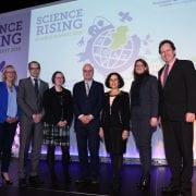 Repro Free Monday 14th November 2016: Pictured at the Science Foundation Ireland's Science Rising Summit held at Croke Park, Dublin announcing new International Partnership Awards announced between US, Ireland and Northern Ireland was xxx, Valentin Bertsch, Economic and Social Research Institute (ESRI), xxx, Mark Ferguson, Director General SFI, Dr France C—rdova, Director, NSF, xxx Brian O'Gallachoir, Marine and Renewable Energy Ireland (MaREI). Picture Jason Clarke