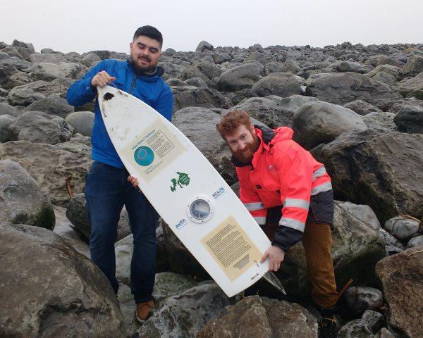 MaREI researchers with the Black Rock mini boat